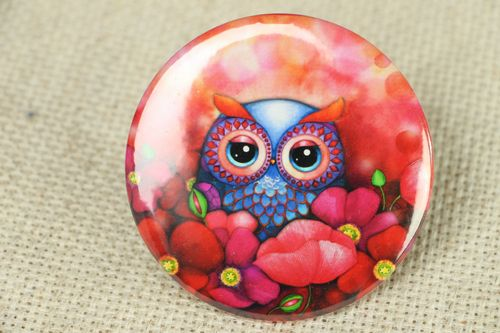 Pocket mirror with an image of owl - MADEheart.com