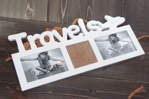 Handmade designer photo frame cut out of MDF for 3 pictures Travels for interior - MADEheart.com