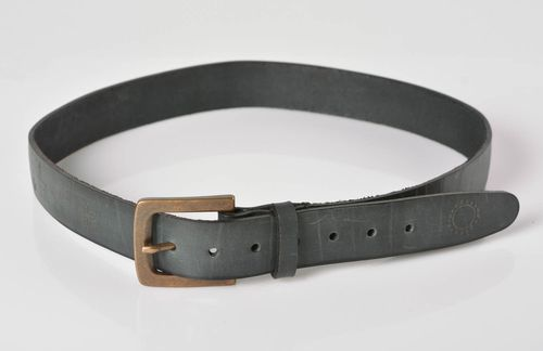 Black leather belt handmade men belt fashion accessories presents for men - MADEheart.com