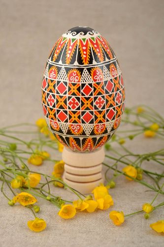 Beautiful handmade bright painted goose egg for Easter decor - MADEheart.com