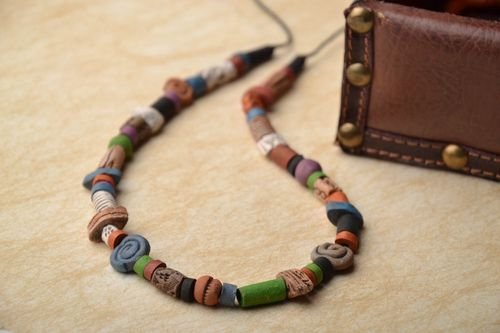 Ceramic bead necklace in ethnic style - MADEheart.com