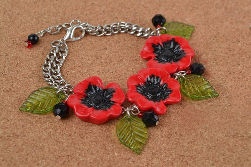 Handmade designer metal chain wrist bracelet with polymer clay red poppy flowers - MADEheart.com