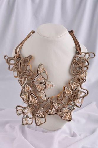 Handmade necklace with seashells leather necklace designer accessories - MADEheart.com