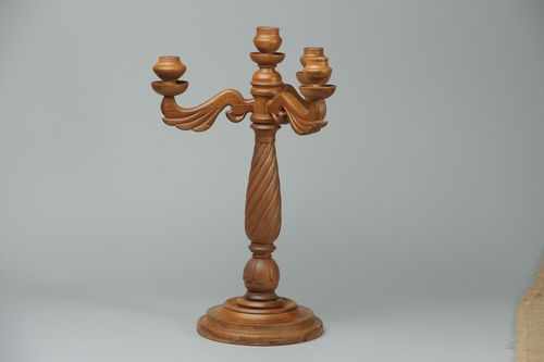 Carved wooden holder for three candles - MADEheart.com
