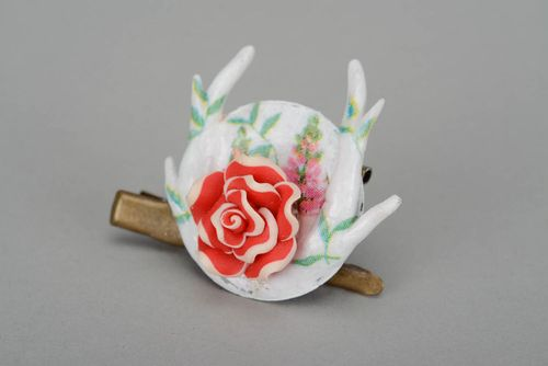 Brooch-hairpin Red and white rose - MADEheart.com