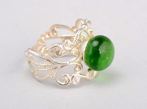 Openwork ring made of fusing glass Princess - MADEheart.com