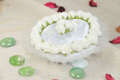 White handmade satin ring bearer pillow with artificial flowers - MADEheart.com