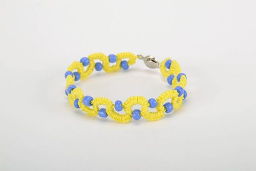Yellow and blue bracelet made from cotton threads - MADEheart.com