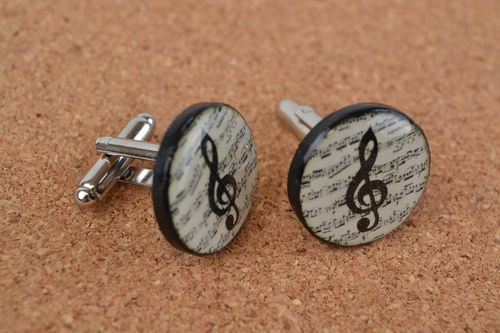 Beautiful handmade round polymer clay cufflinks with decoupage - MADEheart.com