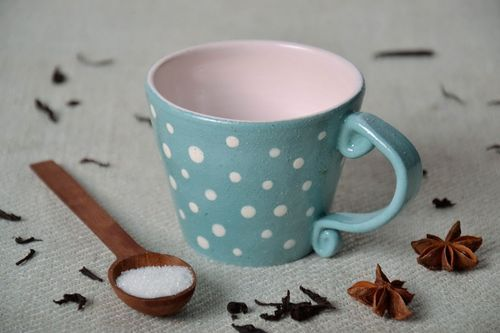 Blue cup with small white dots - MADEheart.com
