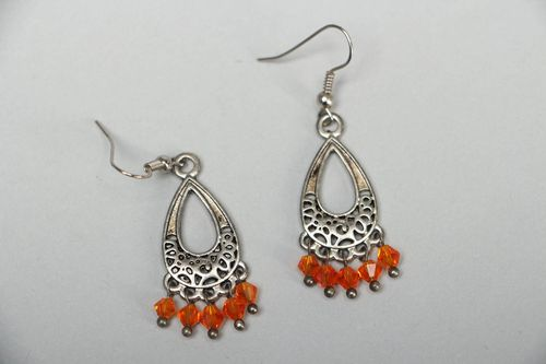 Metal drop-shaped earrings in Gypsy style - MADEheart.com