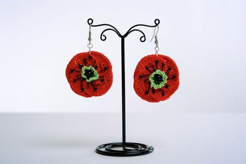 Acrylic earrings Poppies - MADEheart.com