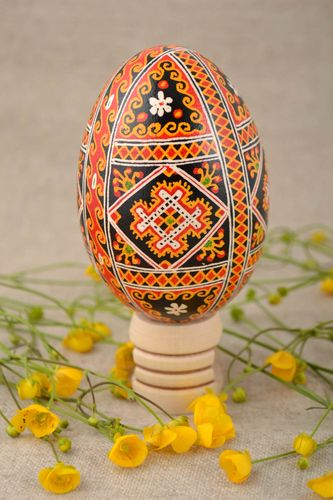 Beautiful handmade hollow goose egg painted with acrylics for Easter - MADEheart.com