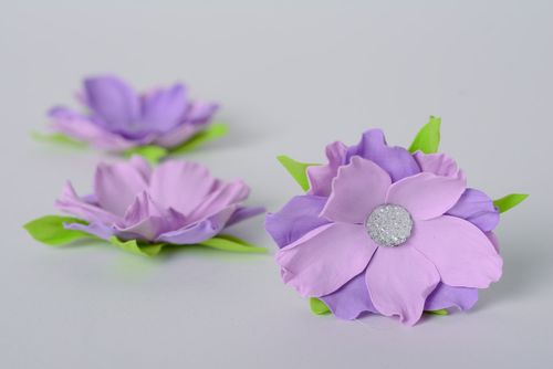 Handmade beautiful foamiran flowers set of 3 pieces with rhinestones of purple color for decor - MADEheart.com