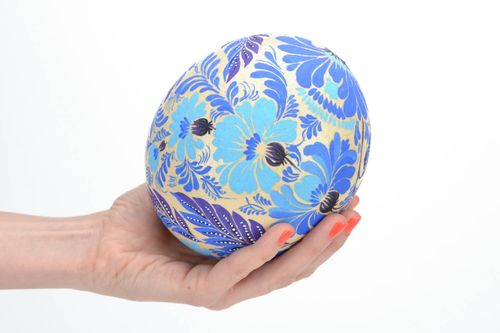 Beautiful ostrich egg with folk blue Petrikov painting home Easter decor ideas - MADEheart.com