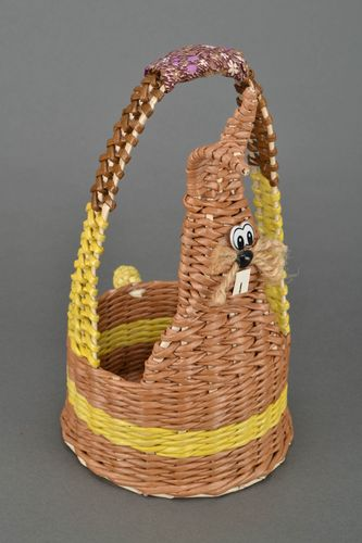 Easter basket woven of paper rod Rabbit - MADEheart.com