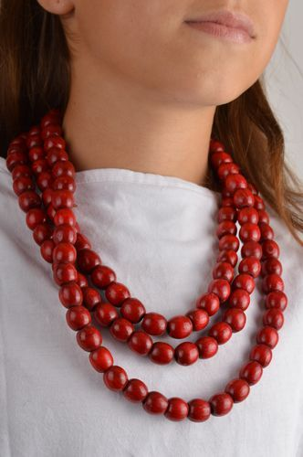 Handmade red multirow necklace unusual wooden necklace jewelry in ethnic style - MADEheart.com