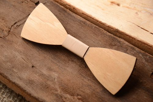 Handmade brooch jewelry wooden bow tie unique bow ties wooden brooch unique gift - MADEheart.com