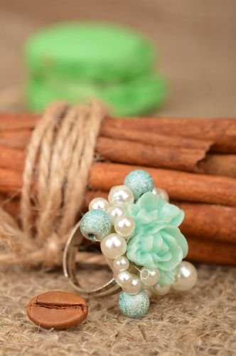 Handmade ring beaded accessory flower jewelry stylish designer ring for women - MADEheart.com