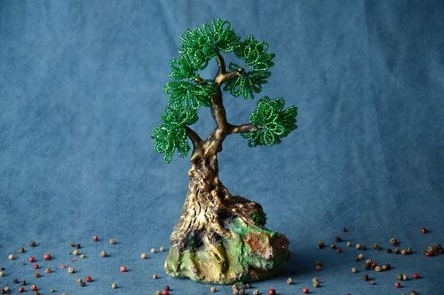 Handmade decorative green beaded bonsai tree with stand for table decoration - MADEheart.com