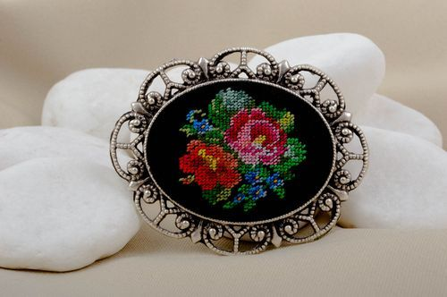 Handmade vintage accessory stylish beautiful brooch unusual embroidered brooch - MADEheart.com