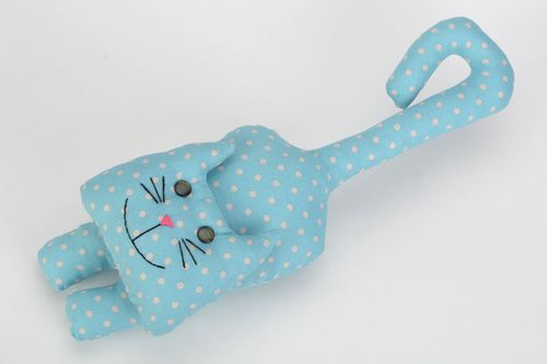 Large hanging handmade fabric soft toy polka dot blue cat  - MADEheart.com