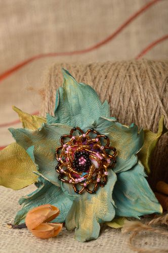 Handmade brooch hair clip with dark leather lily flower with seed beads - MADEheart.com