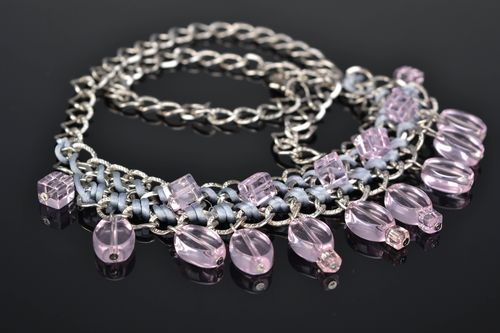 Glass bead necklace Pink Candies - MADEheart.com