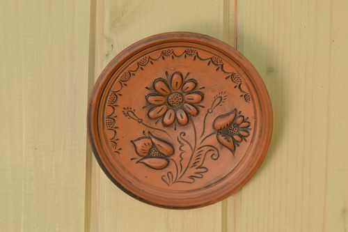 Handmade decorative ceramic wall plate with relief flower image kilned with milk - MADEheart.com
