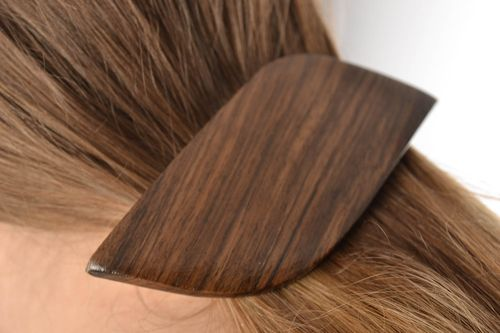 Beautiful dark wooden hair jewelry clip for women handmade automatic - MADEheart.com