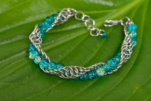 Handmade womens beautiful chainmail woven metal bracelet with glass beads - MADEheart.com