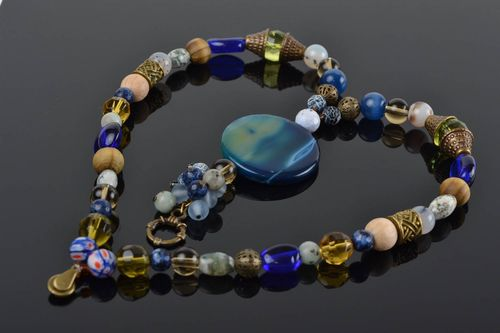 Designer womens necklace with colorful glass wooden and stone beads long - MADEheart.com
