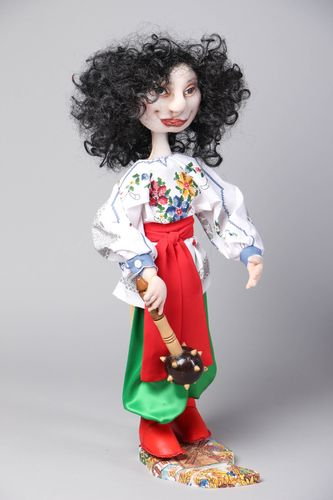 Fabric doll in Ukrainian traditional costume with stand - MADEheart.com