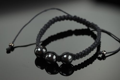 Handmade black friendship bracelet with waxed cord and hematite beads for women  - MADEheart.com