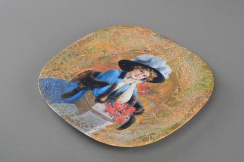 Beautiful handmade designer decoupage glass wall plate Lady - MADEheart.com