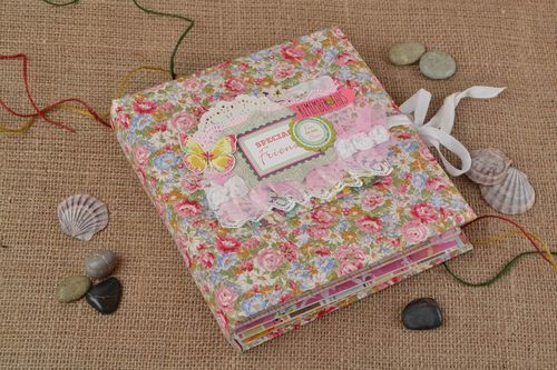 Handmade designer colorful pink floral well wishes scrapbook album  - MADEheart.com
