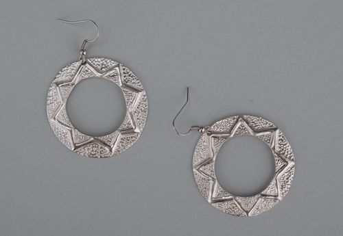Metal earrings with silvering - MADEheart.com