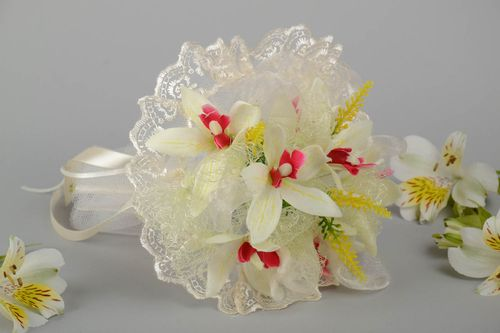 Beautiful wedding bouquet made of handmade artificial flowers with orchids - MADEheart.com