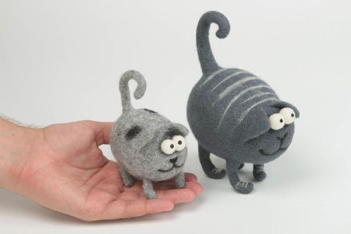 Handmade cute soft toy woolen unusual toys stylish interior decor 2 pieces - MADEheart.com