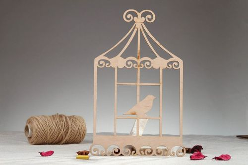 Chipboard Large cage with birds - MADEheart.com