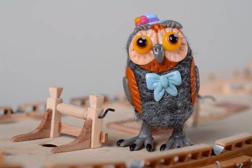 Homemade miniature felted wool toy Owl - MADEheart.com