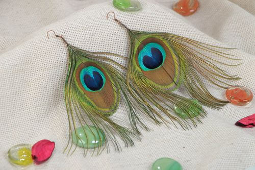 Handmade stylish earrings made of peacock feathers long evening light accessory - MADEheart.com