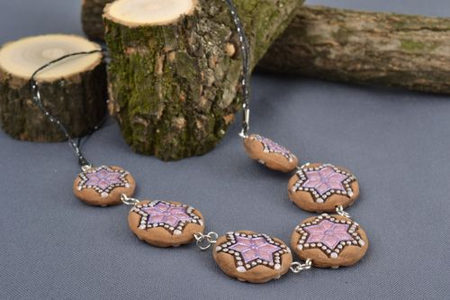 Beautiful handmade designer clay bead necklace on cord with painting  - MADEheart.com