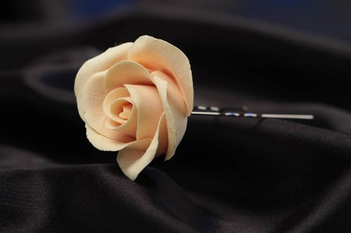 Beautiful gentle handmade polymer clay flower hairpin with rose - MADEheart.com