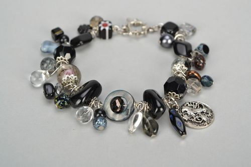 Bracelet with glass charms made using lampwork technique - MADEheart.com