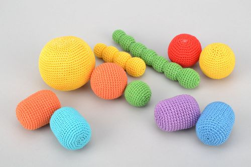 Set of educational toys crocheted over with cotton threads - MADEheart.com