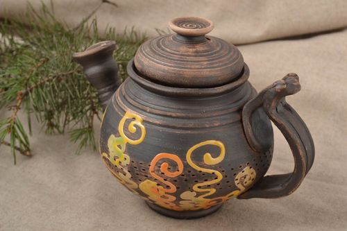 Beautiful handmade ceramic teapot clay teapot pottery works kitchen supplies - MADEheart.com