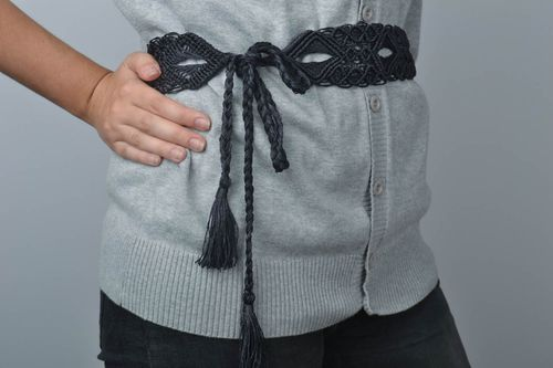 Beautiful handmade woven lace belt textile accessories gifts for her - MADEheart.com