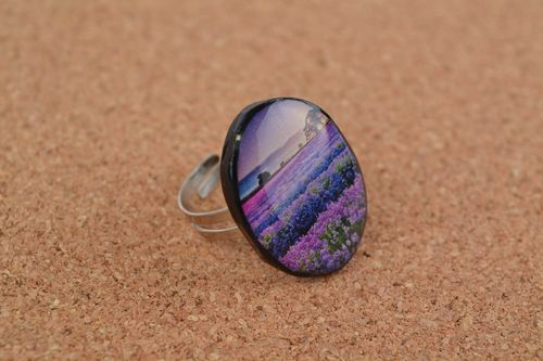 Handmade womens polymer clay decoupage oval ring on metal basis Lavender - MADEheart.com