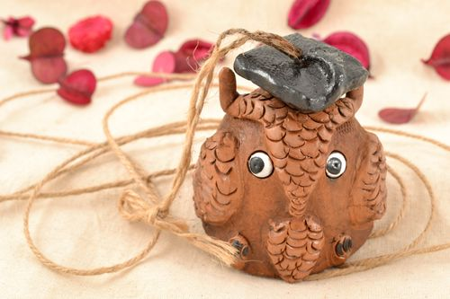 Handmade ceramic bell with painting Wise Owl - MADEheart.com